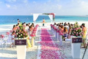 Walking Down the Aisle rose petals on beach