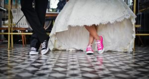 Walking Down the Aisle with tennis sneakers