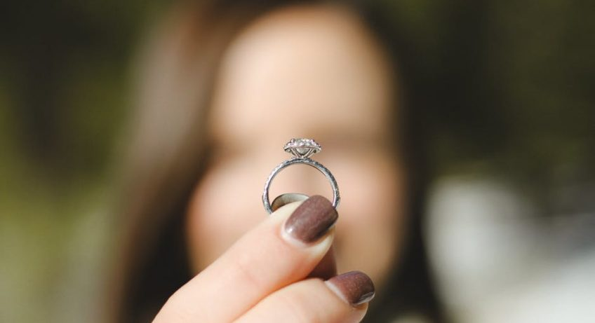 Custom Wedding Ring Design holding up ring