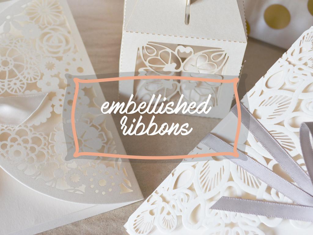 DIY Gift Wrapping embellished ribbon